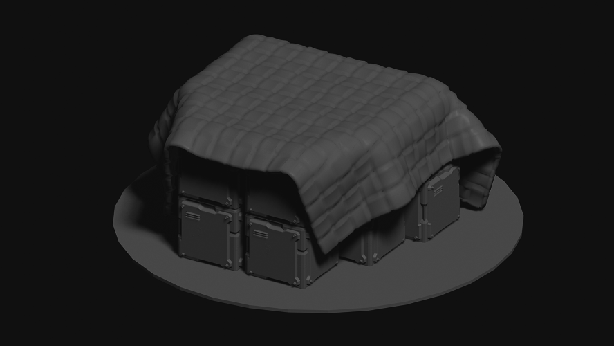 Scifi Crates with large & thick blanket covering terrain for 28mm