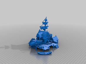 sea tavern - wrecked ship - terrain - low poly