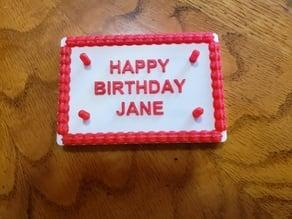 full sheet birthday cake (no name) - dual print capable