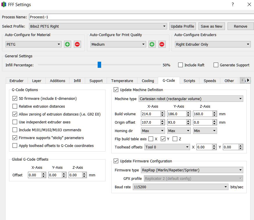 BIBO Touch PETG Settings - General - BIBO 3D Printers - Groups