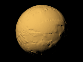Titan with exaggerated topography scaled one in sixty million