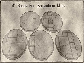 "100mm / 4"" Cobblestone or Road Bases For Gargantuan Miniatures for Dungeons & Dragons, Pathfinder or Warhammer 40k"
