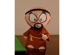 Low Poly Cartoonish Statue of Saint Francis of Assisi