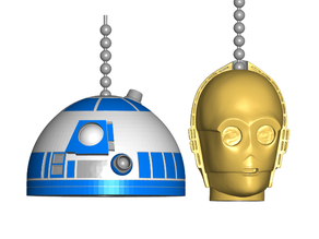 R2D2 | C3P0 Pull Ball Chain or Keychain Knob | Handle | Fob | Finials