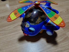 Hand Pushing Helicopter Plane Toy Wheel
