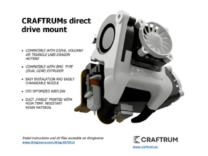 CRAFTRUMs Direct Drive with BMG extruder and E3Dv6