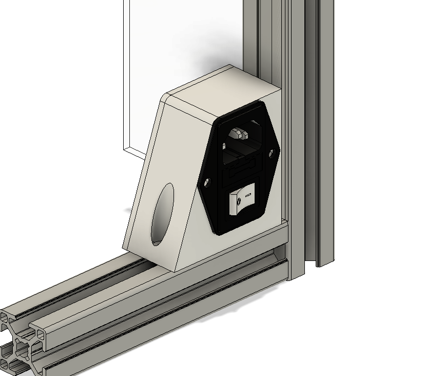 Hypercube Evolution (HEVO) - AC fuse switch corner mount for 3030 profile extrusion