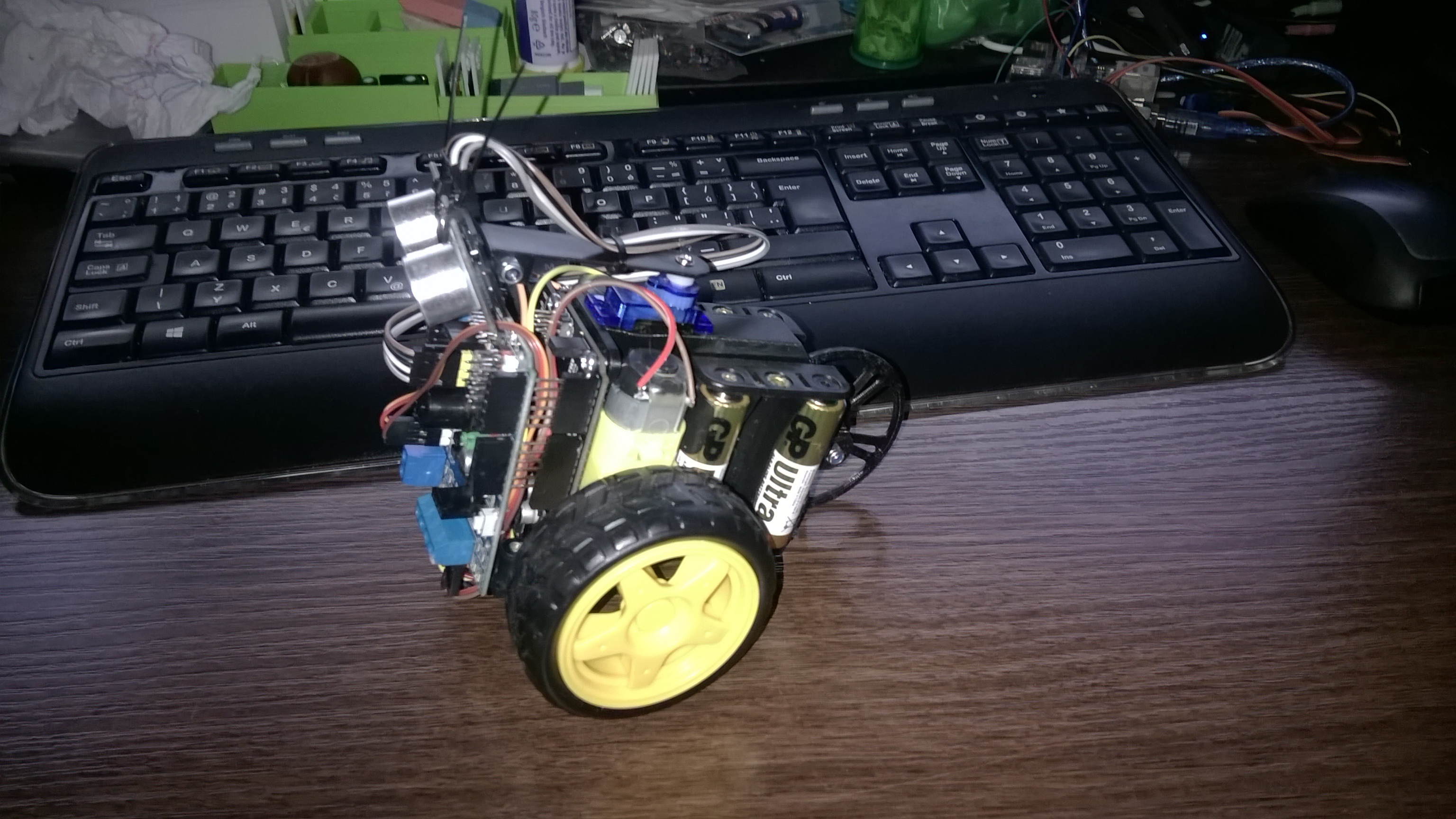 SCRU-FE: Simple C++ Robot with Ultra-sonic Sensor for