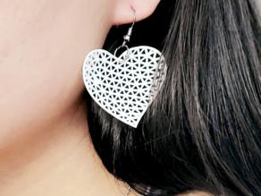 [Mathematical Art] Delaunay triangulation heart shape earrings