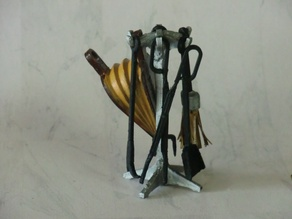 Set fireside accessories for dollhouse