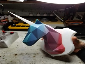Low Poly Unicorn Head (fixed for flat base, separate files, and mounting hole in base)