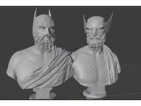 Batman & Wolverine Greek Statue