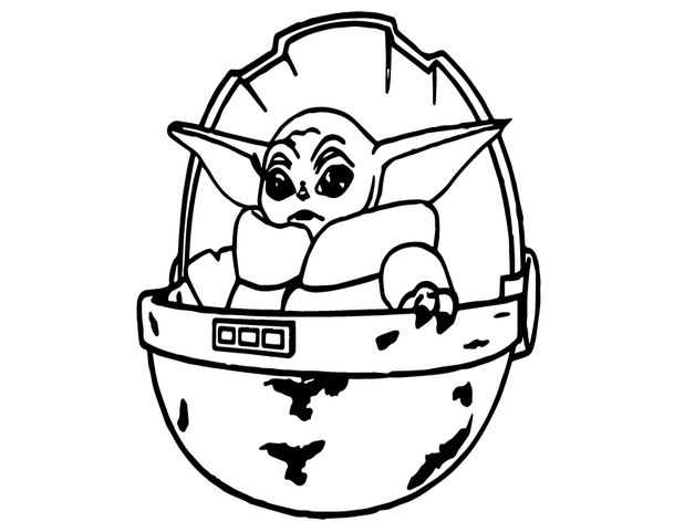 Drawing Baby Yoda Black And White Outline Images Slike
