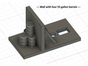 Deck with a wall and 4 barrels on it for switch machine --- N Scale