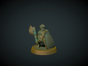 Dwarf axeman 28mm (no supports needed)