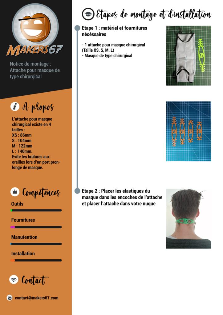 Bandeaux d'attache pour masque chirurgicaux - Makers67