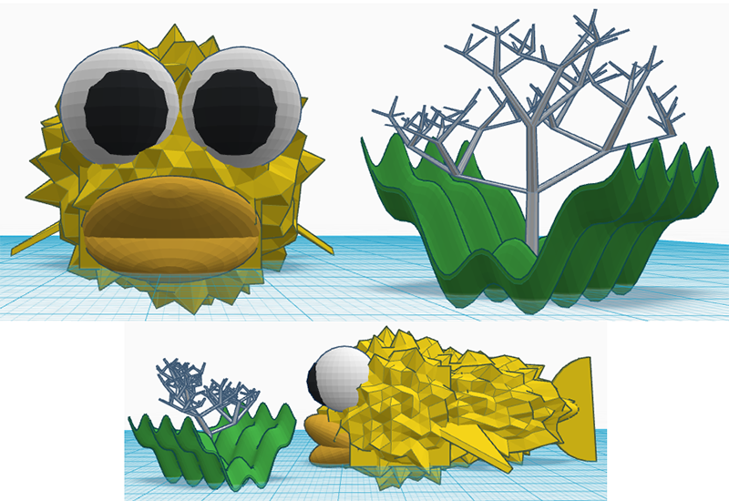 Puffer fish model with seaweed and coral