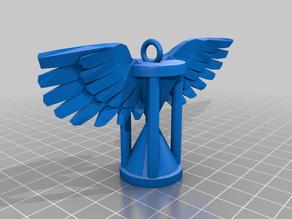 Winged hourglass pendant