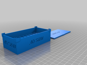 Customizable stack-able box with label to hold ammunition.