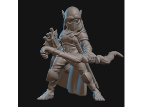 Halfling Ranger Miniature (Axes and bow)
