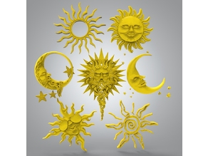 Moon and sun for CNC + stars