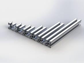 Profilati estrusi in alluminio 20mm x 20mm modulari