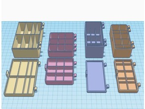 Customizable hinged box with rounded edges and dividers