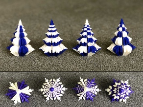 2 colors Christmas trees with snowflake profile