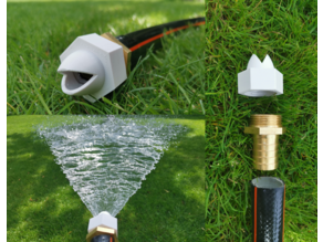 """Garden water hose nozzle fan spay wide for 1"""" inch hose / threaded"""