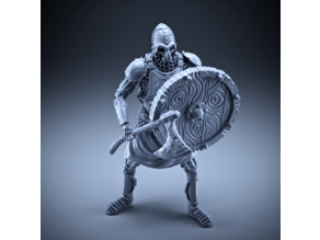 Skeleton - Heavy Infantry - Axe + Round Shield - Defensive Pose