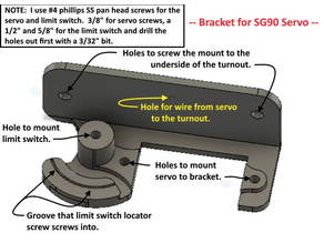 N Scale or Any Scale -- SG90 Servo bracket for Turnout Control