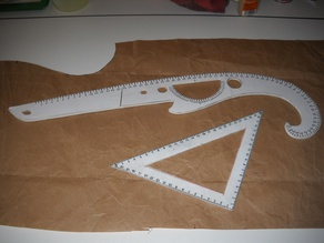 "sewing/taylor tools square and 23"" french curve ruler"