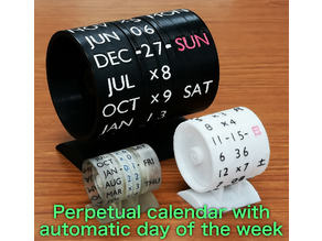 Perpetual calendar with mechanically automatic day of the week