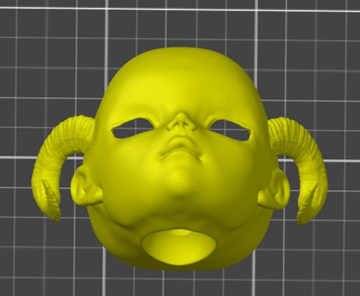 BJD Doll Head with Succubus Horns