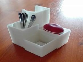 Sugar, Milk cup, spoon and sweetener holder