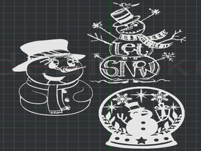 Christmas Snowman Collection 2D Wall Art