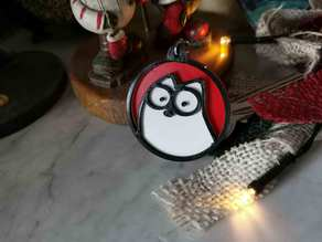 Simon's cat Keychain Red Background