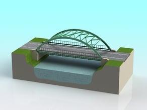 1:32 scale slot car Truss Arch suspension bridge