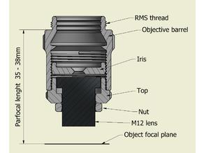 Microscope objective M12 S mount lens