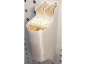 Popsicle sticks + toothpick + cotton swabs pegboard container with optional lid