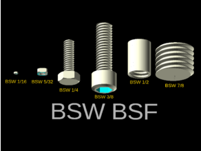 BSW/BSF bolts with OpenSCAD