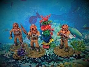 28mm Sci Fi Deep Sea Diver with Harpoon Gun & Knife