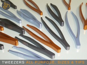 "Tweezers - 20 Different All Purpose Ready-to-Print Tweezers from 80 mm/3.1"" to 160 mm/6.3"""