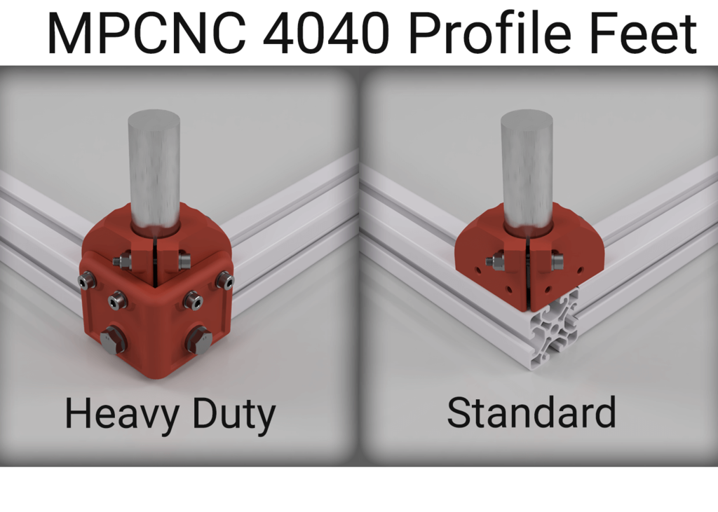 MPCNC Burly or Primo 4040 Profile Feet (With Heavy Duty addon)