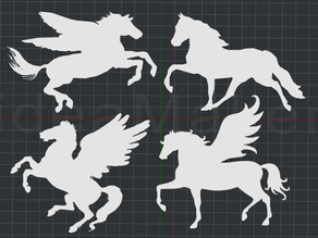 Horses and Pegasus 2D Wall Art