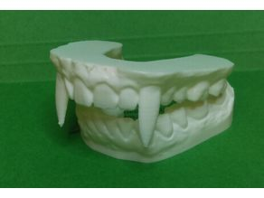 Vampire Teeth Dental Model for Halloween (2 piece - No Supports)