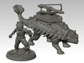 Dinosaur rider with scifi antsman