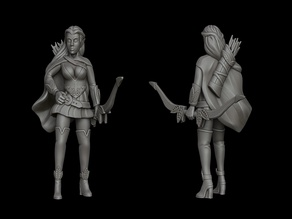 Elf / half-elf female ranger (28mm DnD miniature)