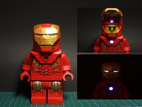 Minifig Metall man with open helmet and LED (optional)