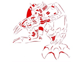 War Greymon stencil